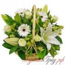 Корзина с розами, лилиями, герберами и альстромериями
