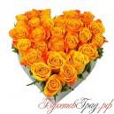 Сердце из оранжевых роз