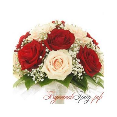 """Свадебный букет из роз """"Микс"""" 13шт"""